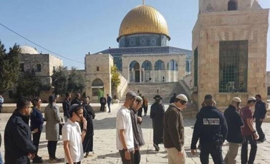 مستوطنون متطرفون يقتحمون الأقصى بحراسة من شرطة الاحتلال الإسرائيلي