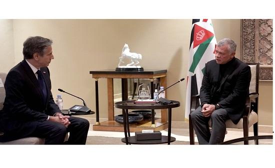 الملك يلتقي وزير الخارجية الأمريكي أنتوني بلينكن
