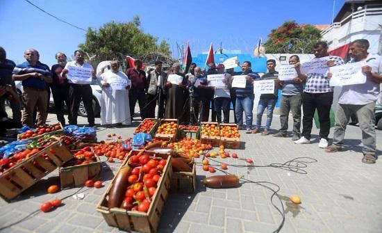 غزة: مزارعون يحتجون على شروط الاحتلال لتصدير منتجاتهم الزراعية