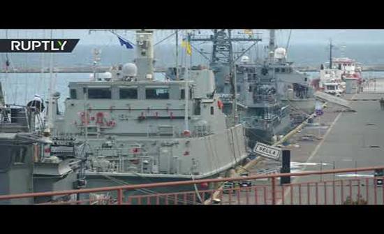 بالفيديو : 4 سفن حربية للناتو تصل إلى أوكرانيا