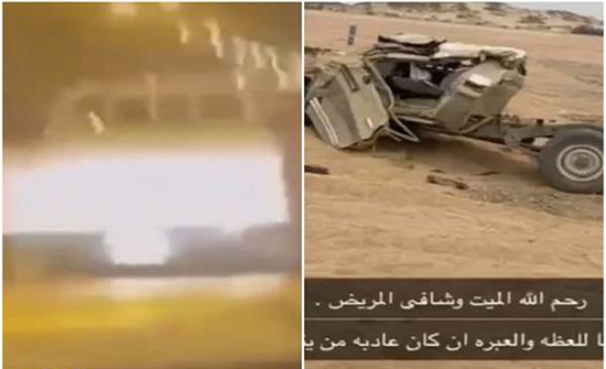 بسرعة تتجاوز الـ 200.. شاهد: لحظة وقوع حادث شنيع لسائق شاص على طريق عام بالسعودية