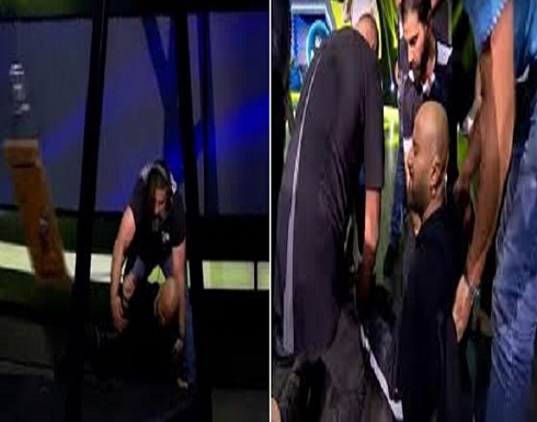 """بالفيديو.. سقوط مروع للفنان """"أحمد السقا"""" على الهواء"""