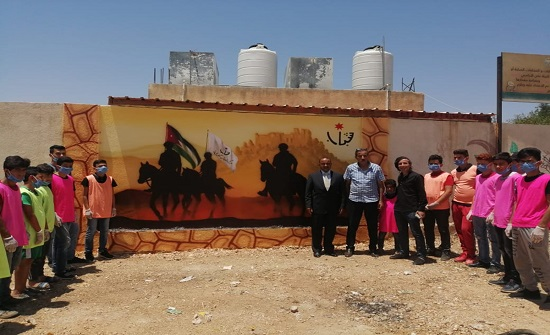 كفرنجة: استكمال رسم جدارية الأردن تاريخ وحضارة
