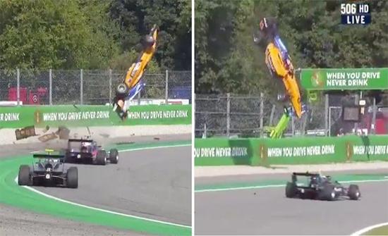 شاهد: سيارة فورمولا تطير في الهواء خلال سباق جائزة إيطاليا الكبرى