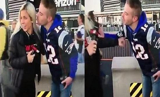 نيويورك : فيديو صادم لمشجع يحاول تقبيل إعلامية على الهواء مباشرة