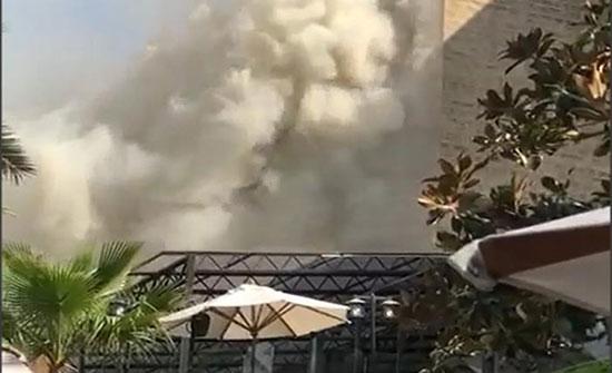 بالفيديو : إخماد حريق داخل إحدى الفنادق في محافظة العاصمة