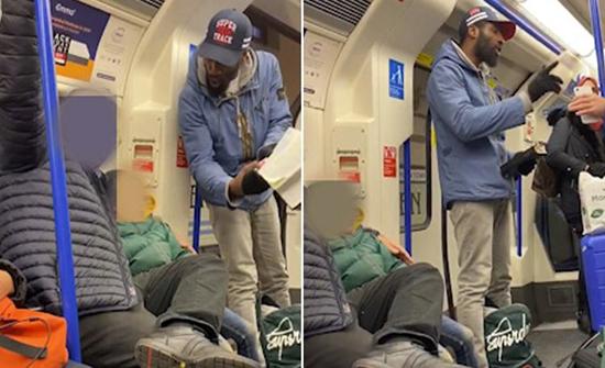 بالفيديو : امرأة مسلمة محجبة تدافع عن يهودي وطفله تعرضا لإهانات من رجل أسمر داخل مترو في لندن