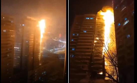 بالفيديو : تَحَوّل برج سكني إلى عمود من النيران في ثوان في الصين
