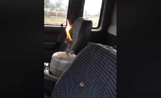 بالفيديو : ضبط سائق اشعل جرة غاز داخل المركبة