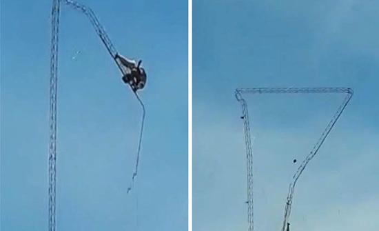 شاهد: انهيار هوائي عملاق وسقوط عاملين من ارتفاع شاهق في الأوروغواي