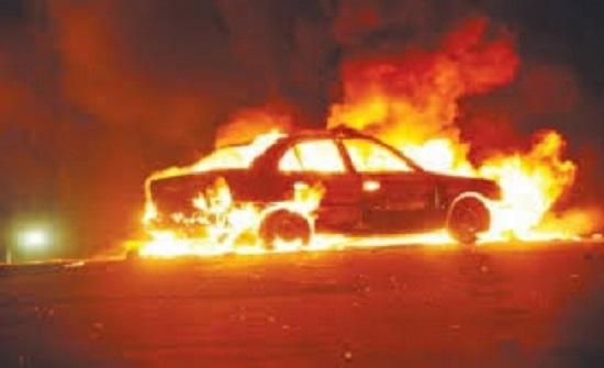 بالفيديو: إخماد حريق مركبة في عمان