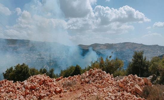 محاولة إخماد حريق في غابات وأشجار حرجية في عجلون