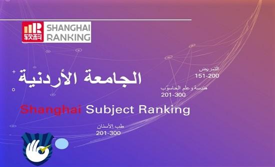 الأردنية تحقق ترتيبا عالميا متقدما في ثلاثة حقول