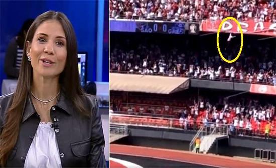 بالفيديو: لحظة سقوط مشجع من أعلى مدرج بملعب كرة قدم في البرازيل