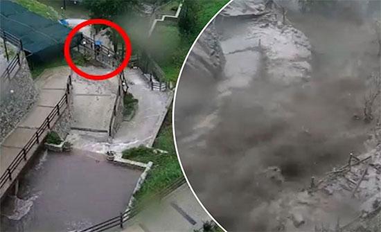شاهد : معجزة حقيقية تنقذ رجل من موت محتم بعد انهيار جدار استنادي ضخم في ايطاليا