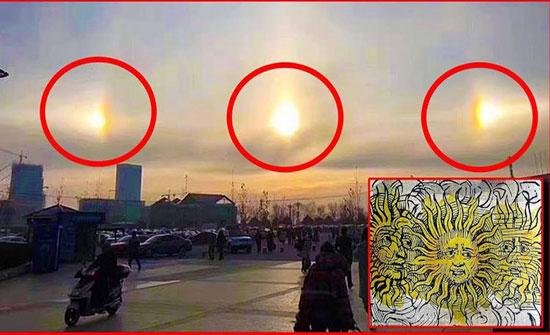بالفيديو : 3 شموس تضيء سماء الصين