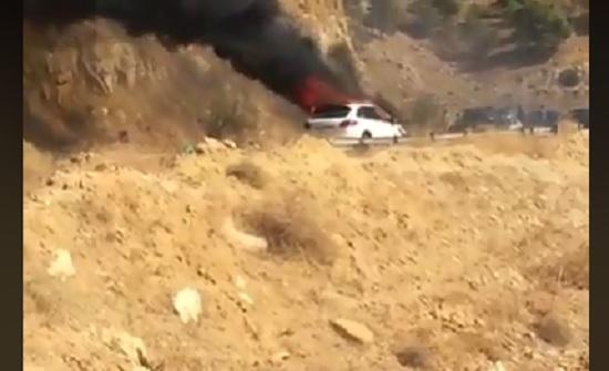 بالفيديو :  حريق مركبة في نزول العارضة
