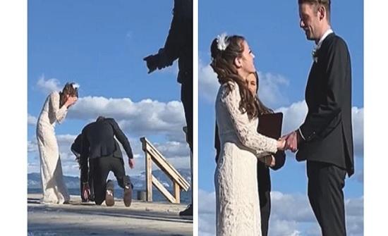 أمريكا  : الحظ السيئ يفسد فرحة عروسين خلال حفل زفافها .. شاهد ما حدث