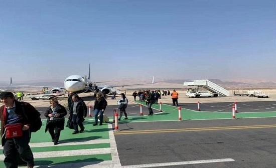 صور : هبوط أول رحلة طيران داخلي في مطار الملك حسين بالعقبة