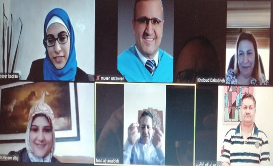 مناقشة رسالة ماجستير في القانون في جامعة إربد الأهلية عبر تطبيق زووم