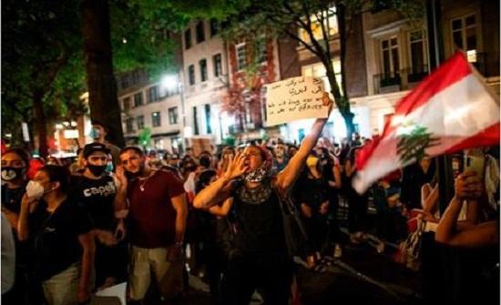 مواجهات بين متظاهرين محتجين وقوى الامن بوسط بيروت