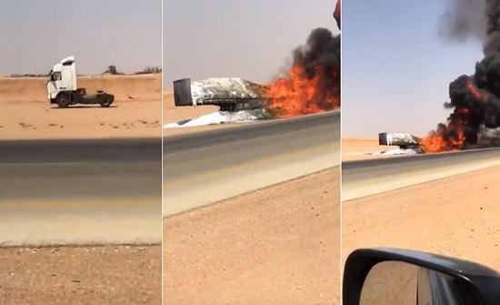 بالفيديو: احتراق شاحنة محمّلة بمواد بلاستيكية بالسعودية