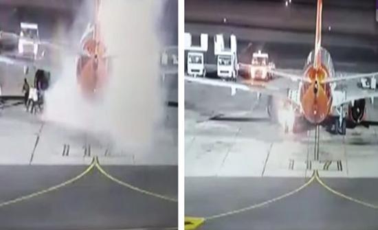 شاهد: لحظة إخماد حريق نشب في طائرة أوكرانية بمطار شرم الشيخ
