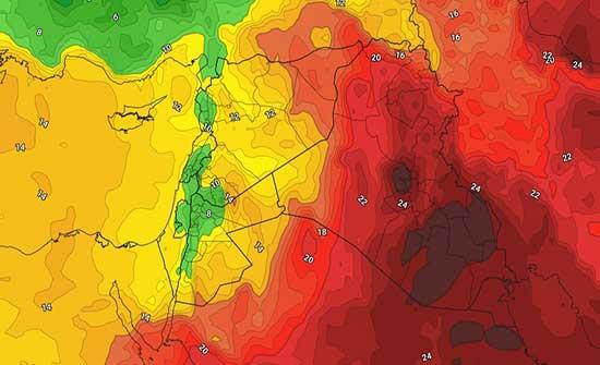 مُنخفض خماسيني الاحد متبوع بكتلة هوائية ربيعية الاثنين والثلاثاء