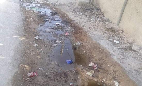 شكاوى من تسرب مياه عادمة من الحفر الامتصاصية امام منازل اسكان المشارع