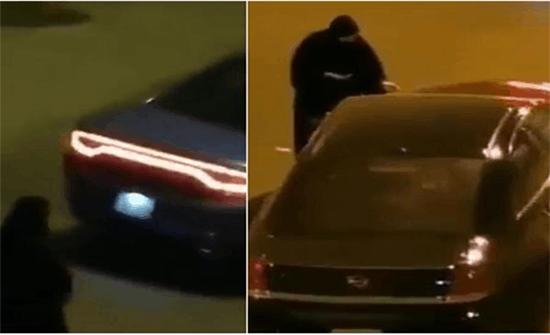 بالفيديو: امرأة تلقي مادة غريبة على سيارة بالكويت وتفر هاربه