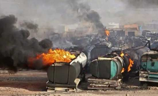21 قتيلا وجريحا جراء حريق في صهاريج للوقود بأفغانستان