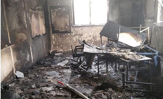 مشاهد لإحراق كلية إعداد عسكرية للاحتلال في اللد (فيديو)
