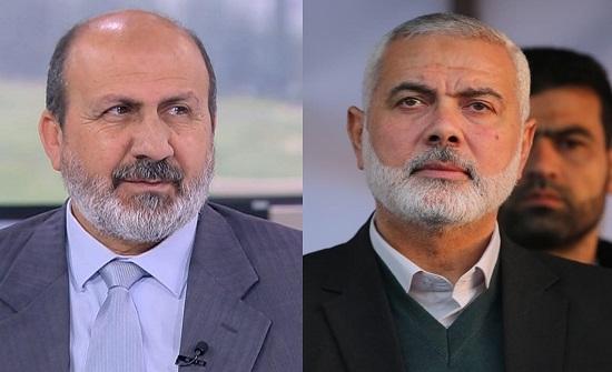 """هنية يهاتف أمين عام """"العمل الإسلامي"""" مثمناً الموقف الأردني تجاه القضية الفلسطينية"""