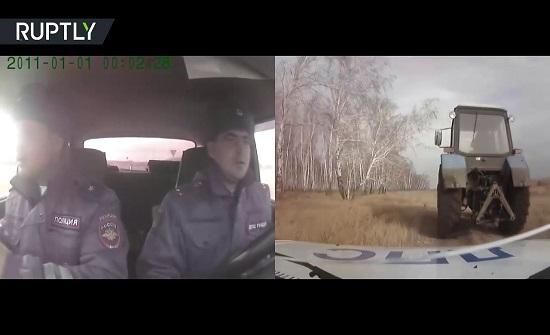 مطاردة مثيرة بين سيارة شرطة وجرار زراعي