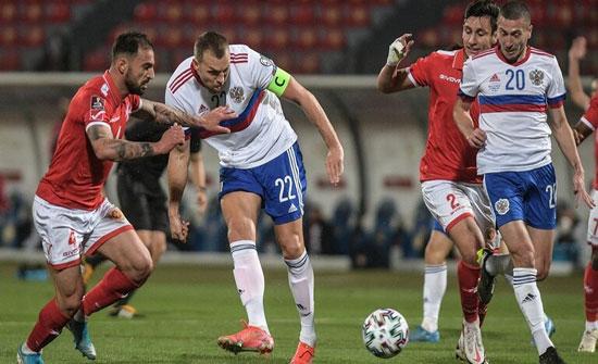 روسيا تتغلب على مالطا بثلاثية ضمن تصفيات مونديال قطر