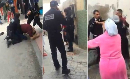 بالفيديو : لص خطير يعتدي بـ وحشية على شرطي مغربي
