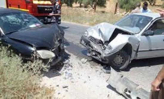 إصابة 4 أشخاص اثر حادث تصادم في منطقة الياسمين