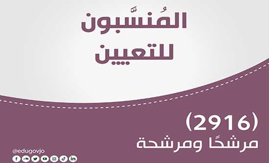 التربية تعلن أسماء المرشحين للتعيين لعام 2021 .. اسماء