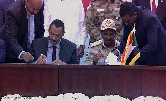 توقيع الإعلان الدستوري في السودان