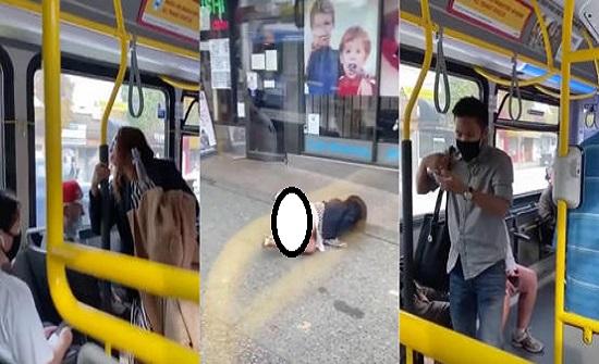 شاب يعتدي على امرأة كندية ويقذفها من الحافلة بشكل مروع - فيديو