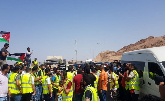 اعتصام عمال المياومة في ميناء حاويات العقبة
