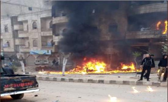 بالفيديو : سوريا.. إصابة 5 أشخاص في انفجار سيارة مفخخة وسط مدينة عفرين