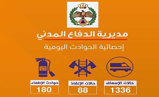الدفاع المدني يتعامل مع 1336 حالة إسعافية مختلفة