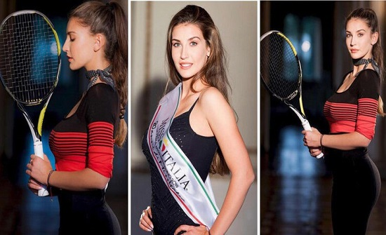 بالصور : ملكة جمال ايطاليا .. لاعبة كرة مضرب