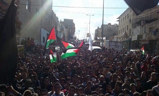 وقفة احتجاجية في مخيم البقعة رفضاً لخطة ترمب