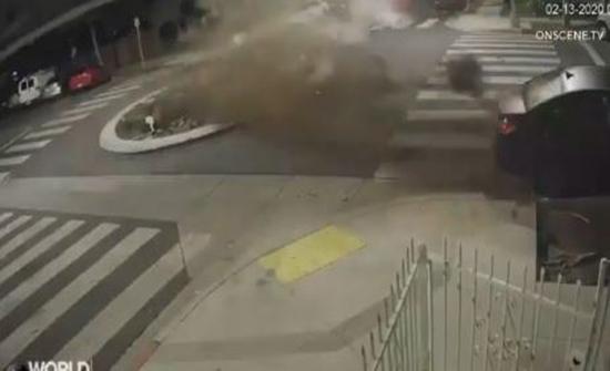 امرأة تقود BMW بسرعة عالية وتصطدم بدوار(فيديو)