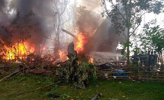 ارتفاع حصيلة ضحايا تحطم الطائرة العسكرية الفلبينية إلى 45 شخصا .. بالفيديو