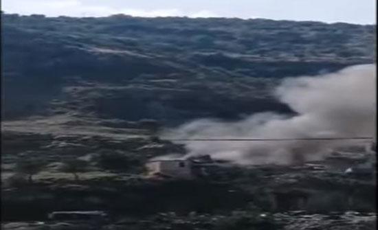 بالفيديو : محاولة إسقاط طائرة إسرائيلية مسيرة جنوب لبنان