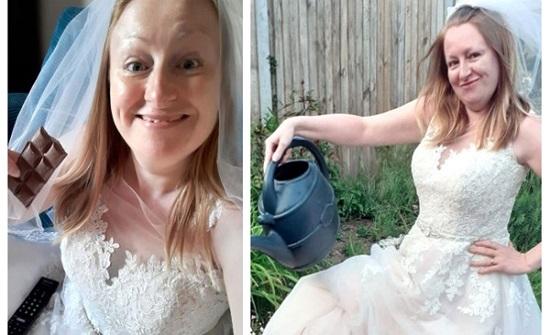 بعد مرور عامين على زواجها.. امرأة تؤدي الأعمال المنزلية بـ فستان الزفاف