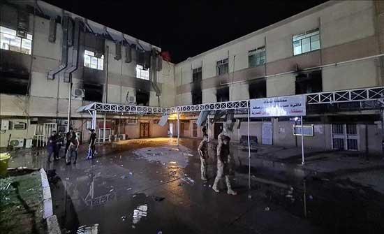 إخماد حريق بمخزن أسطوانات أكسجين في مستشفى بالعراق